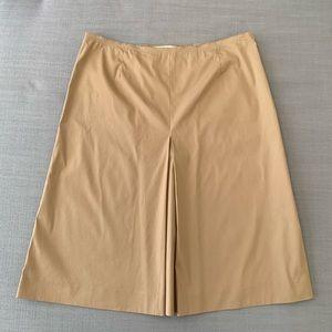 Classic Prada Cotton Pleat A-line Khaki Tan Skirt